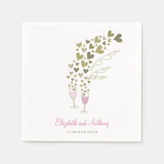 Pink Champagne Cheers Golden Hearts Wedding Party Paper Napkin