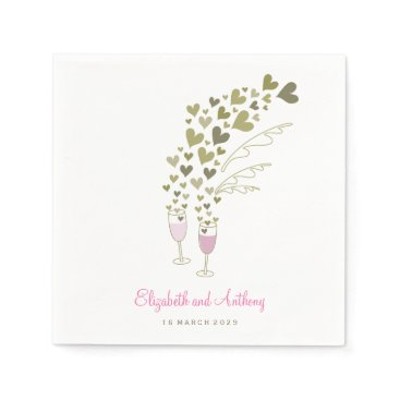 Valentines Themed Pink Champagne Cheers Golden Hearts Wedding Party Paper Napkin