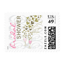 Pink Champagne Cheers Hearts Bridal Shower Stamps