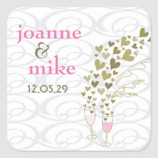 Pink Champagne Cheers Hearts Wedding Party Sticker