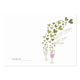 Pink Champagne Cheers Hearts Wedding Place Cards