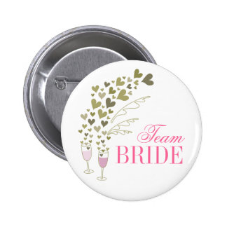 Pink Champagne Cheers Team Bride Wedding Button