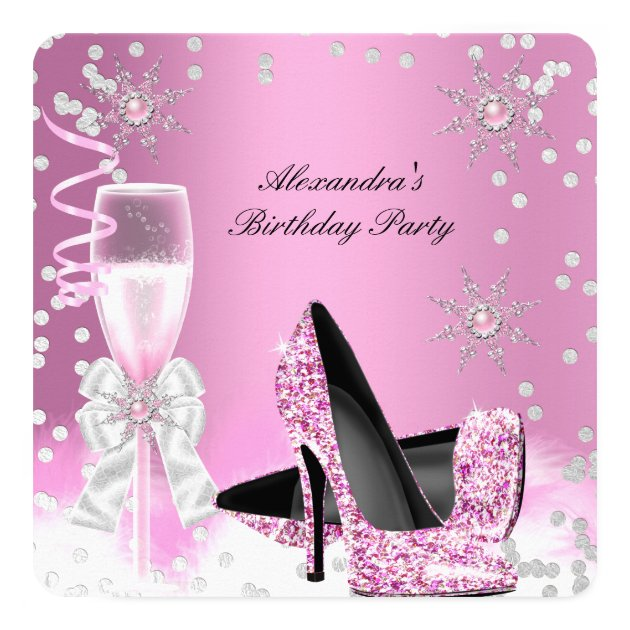 Pink Champagne High Heels Birthday Party 2 Card | Zazzle