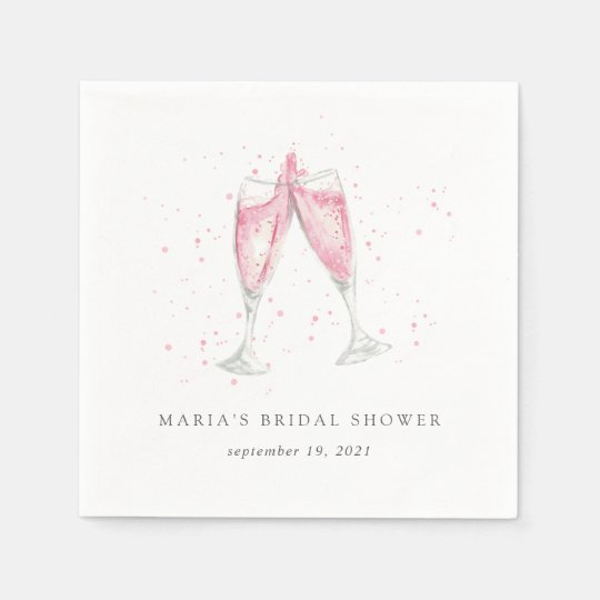 pink champagne personalized bridal shower napkin