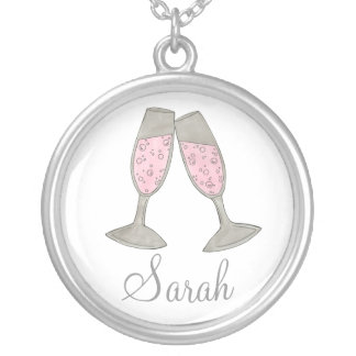 Pink Champagne Personalized Bridesmaid Wedding Silver Plated Necklace