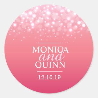 Pink champagne sparkle bubbles wedding sticker