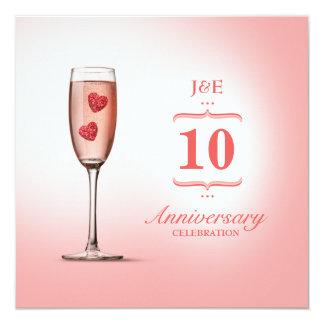 Pink Champagne - Wedding Anniversary invitation