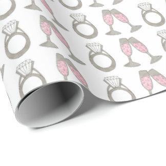Pink Champagne Wedding Diamond Ring Gift Wrap