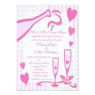 Pink Champagne Wedding Invitation