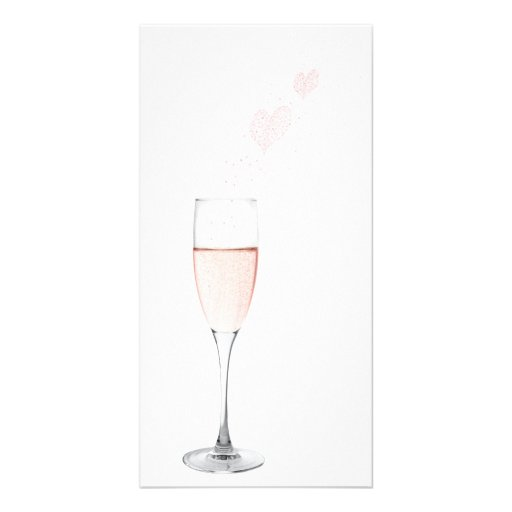 pink champagne with bubbly hearts photo card