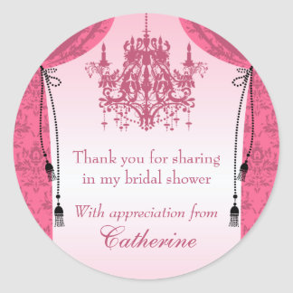 Pink Chandelier and Damask Curtain Bridal Shower Classic Round Sticker