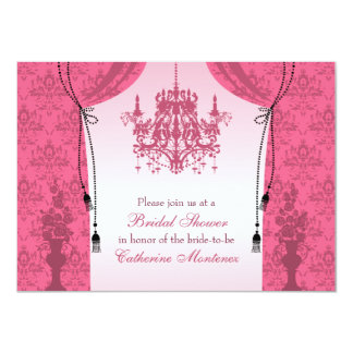 Pink Chandelier and Damask Curtains Bridal Shower Card