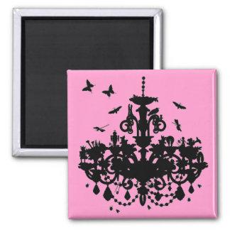 Pink Chandelier & Butterflies Magnet