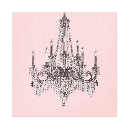 Chandelier Wall Art pink chandelier canvas wall art | zazzle