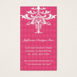 Pink Chandelier Checkered Business Cards