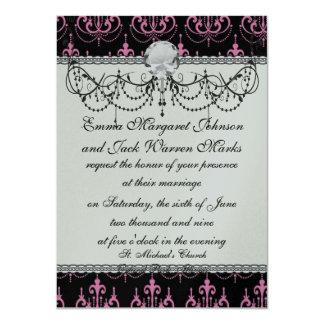 pink chandelier damask on black card
