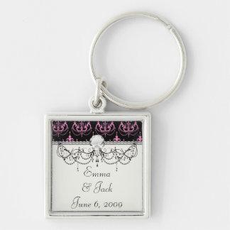 pink chandelier damask on black keychains