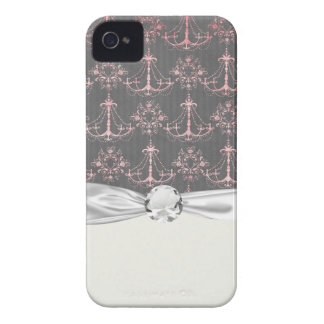 pink chandelier damask on deep gray iPhone 4 Case-Mate case
