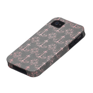 pink chandelier damask on deep gray iPhone 4/4S case