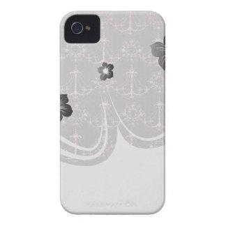 pink chandelier damask on deep gray blackberry case