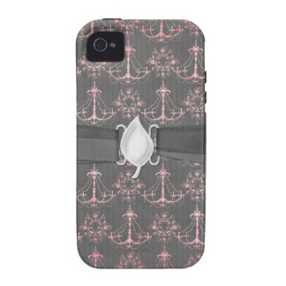 pink chandelier damask on deep gray iPhone 4 covers