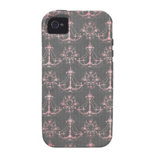 pink chandelier damask on deep gray iPhone 4/4S cases