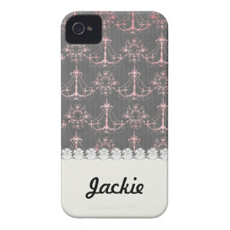 pink chandelier damask on deep gray iPhone 4 cover
