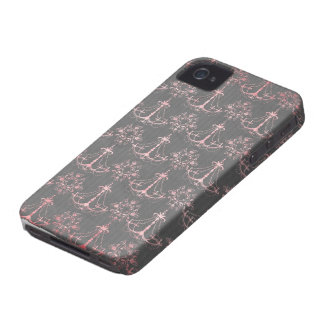 pink chandelier damask on deep gray iPhone 4 cases