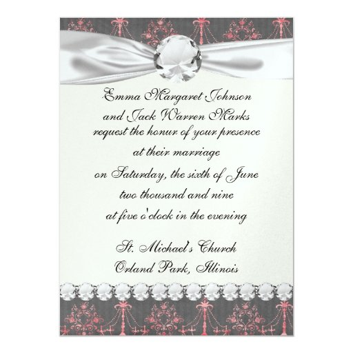 "pink chandelier damask on deep gray 5.5"" x 7.5"" invitation card"
