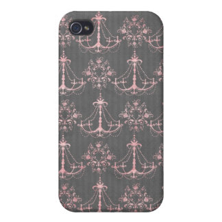 pink chandelier damask on deep gray iPhone 4/4S cover