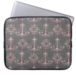 pink chandelier damask on deep gray laptop computer sleeves