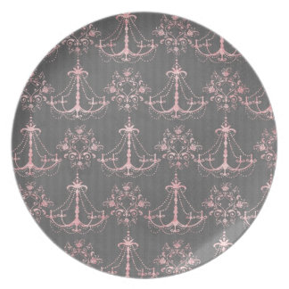 pink chandelier damask on deep gray melamine plate