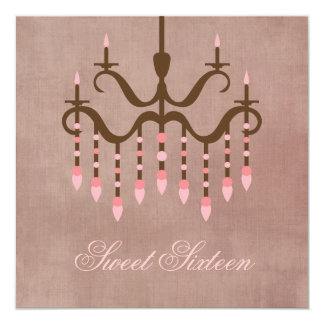 Pink  Chandelier Sweet 16 Party Card