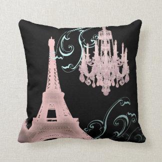 pink Chandelier vintage paris decor Pillow