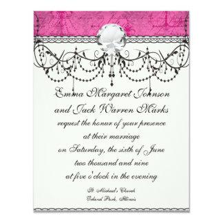 "pink chandelier vintage writing background 4.25"" x 5.5"" invitation card"