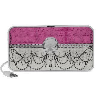 pink chandelier vintage writing background portable speaker