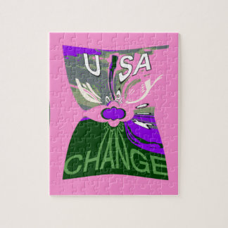 Pink Change  Hillary USA We Are Stronger Together. Jigsaw Puzzle