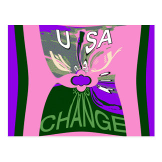 Pink Change  Hillary USA We Are Stronger Together. Postcard