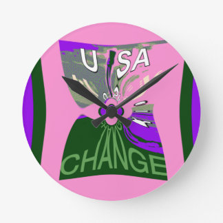 Pink Change  Hillary USA We Are Stronger Together. Round Clock