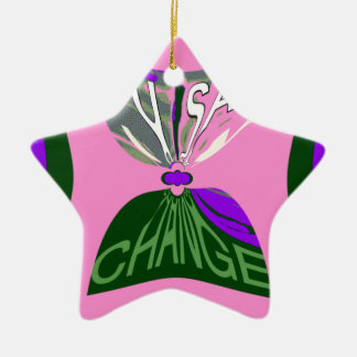 Pink Change  USA pattern design art Ceramic Ornament
