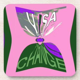 Pink Change  USA pattern design art Coaster