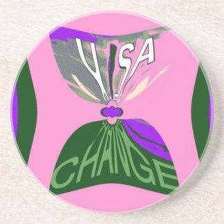 Pink Change  USA pattern design art Drink Coaster