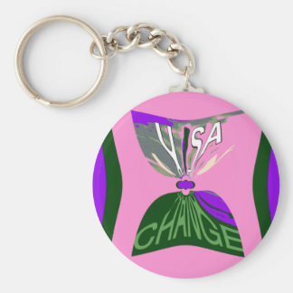 Pink Change  USA pattern design art Keychain