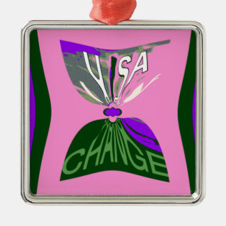 Pink Change  USA pattern design art Metal Ornament