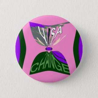 Pink Change  USA pattern design art Pinback Button