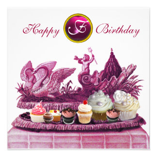 PINK CHARIOT OF SWANS AND CUPCAKES BIRTHDAY PARTY ANNOUNCEMENT