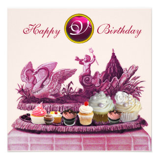 PINK CHARIOT OF SWANS AND CUPCAKES BIRTHDAY PARTY PERSONALIZED ANNOUNCEMENTS