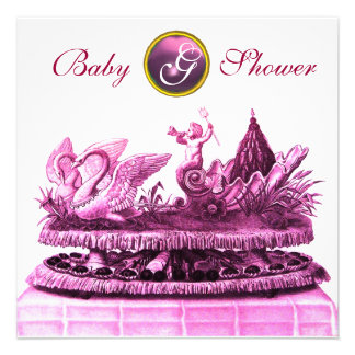 PINK CHARIOT OF SWANS / CUPCAKES GIRL BABY SHOWER PERSONALIZED INVITE