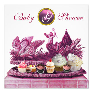 PINK CHARIOT OF SWANS / CUPCAKES GIRL BABY SHOWER CUSTOM ANNOUNCEMENTS