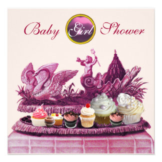 PINK CHARIOT OF SWANS / CUPCAKES GIRL BABY SHOWER PERSONALIZED ANNOUNCEMENTS